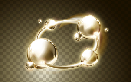 Golden light ring and bubble elements, transparent background, 3d illustration Illustration