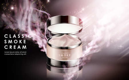 Cosmetic cream contained in jar, isolated magical background, 3d illustration