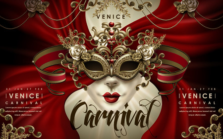 Venice Carnival poster, decorative mask with red curtain and golden elements in 3d illustration