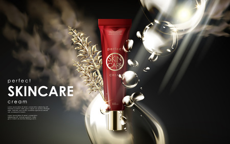 Skincare cream product contained in red plastic tube with algae and big bubbles, 3d illustration
