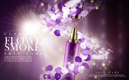 화장품 병, 3d 일러스트에 포함 된 보라색 꽃 스킨 케어 제품