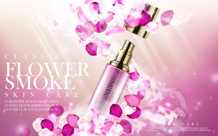 contained: pink flower skincare product contained in cosmetic bottle, 3d illustration Illustration