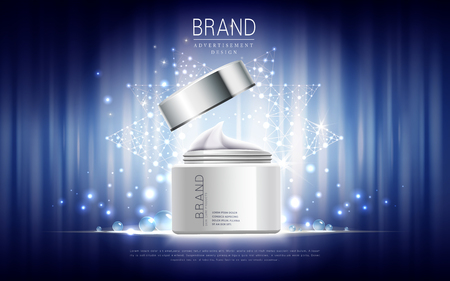 skin care cream contained in white jar, blue astral background, 3d illustration