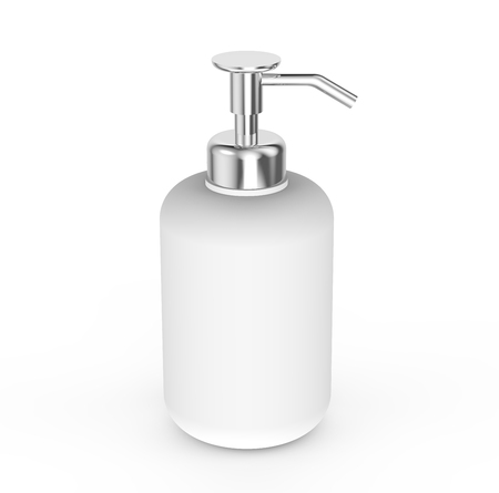 silver reflection: Blank dispenser pump bottle, white container mock up without label for design, 3d rendering