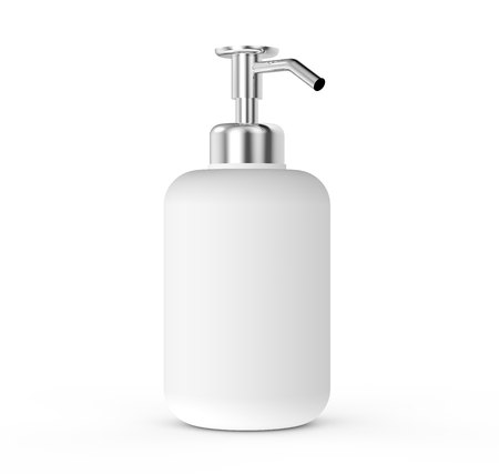 Blank dispenser pump bottle, white container mock up without label for design, 3d rendering