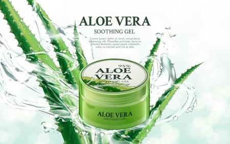 Aloë Vera soothing gel, bevat in groene kruik, met aloë en plonselementen, 3d illustratie