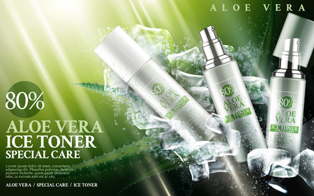 green face: aloe vera ice toner contained in bottles, with aloe and cube elements, 3d illustration