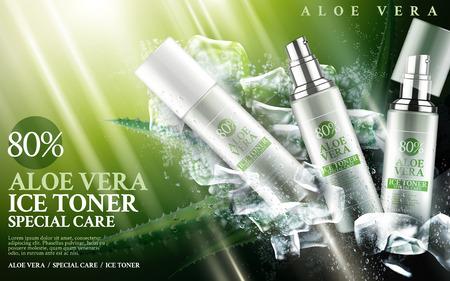 Aloe vera ijs toner in flessen, met aloë en kubus elementen, 3d illustratie