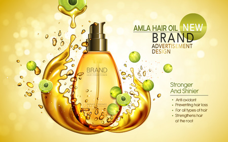 contained: amla hair oil contained in golden bottle with amla elements, 3d illustration
