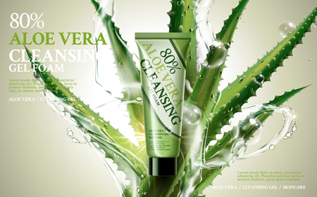 aloe vera cleansing foam, contained in green tube, with aloe and water flow elements, 3d illustration 向量圖像