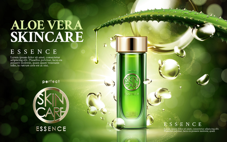aloe vera skincare, contained in glass bottle, isolated green background, 3d illustration