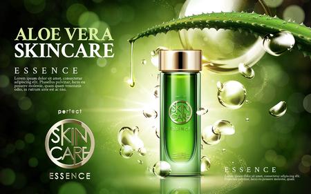 productos naturales: aloe vera cuidado de la piel, contenido en la botella de vidrio, aislado fondo verde, ilustración 3d Vectores