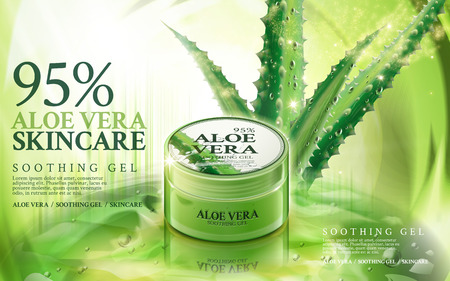 contained: aloe vera soothing gel, contained in green jar, with aloe and magical light elements, 3d illustration Illustration