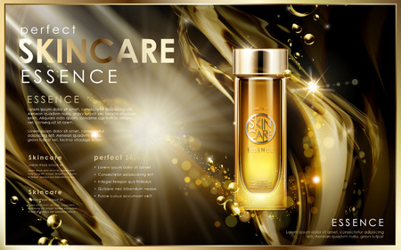 perfect golden skincare essence, contained in glass bottle, universe background, 3d illustration