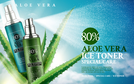 aloe vera plant: aloe vera ice toner contained in spray bottles, 3d illustration Illustration