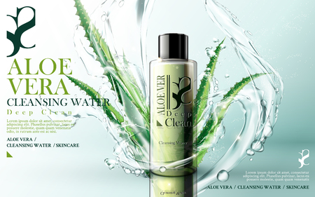 aloe vera cleansing foam, contained in green bottle, with aloe and water flow elements, bright background, 3d illustration