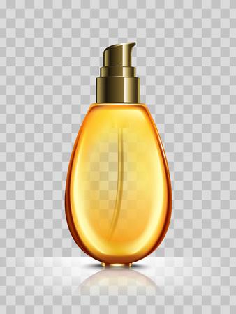clean bathroom: blank orange cosmetic bottle, isolated transparent background, 3d illustration Illustration