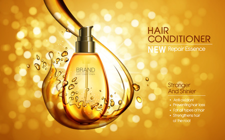 stronger: hair conditioner contained in golden bottle, shining bokeh background, 3d illustration Illustration