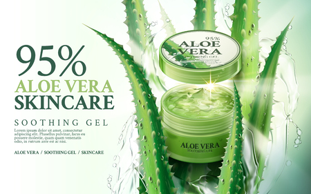 contained: aloe vera soothing gel, contained in green jar, with aloe and water splash elements, 3d illustration