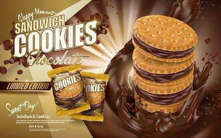 초콜릿 샌드위치 쿠키 광고, 쿠키 요소, 갈색 배경 3d 일러스트와 함께 초콜릿 흐르는