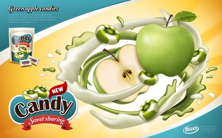flavored candy ad, with apple and milk elements Ilustracja