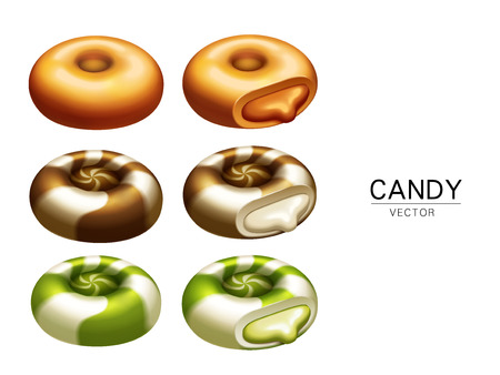 toffee: colorful candy elements and creamy stuffings, isolated white background, 3d illustration