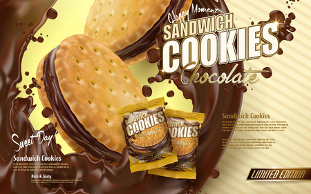biscuits: chocolate sandwich cookies ad, flowing chocolate with cookie elements, yellow stripe background 3d illustration