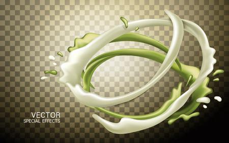 액체 우유와 사과 흐름 혼합, 투명 배경 3D 그림