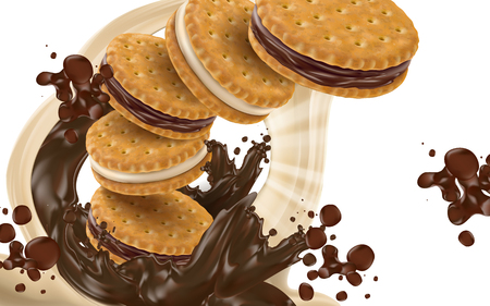 chocolate cookie: flying chocolate sandwich cookies, transparent background 3d illustration