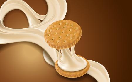 milk flow and cookie element, brown background, 3d illustration