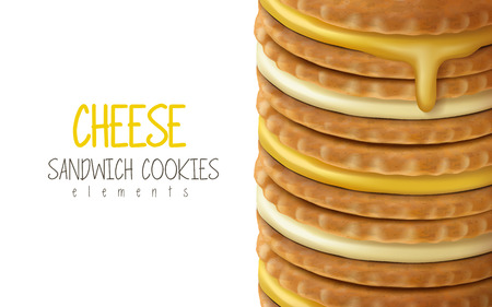 stacking cheese sandwich cookies, white background 3d illustration