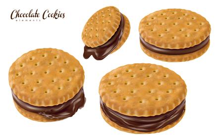 4 개의 초콜릿 샌드위치 쿠키, 흰색 배경 3d 그림