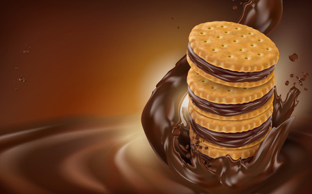 chocolate flow and cookie element, dark brown background, 3d illustration Illustration