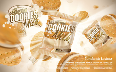 milk sandwich cookies and bag, milky white background 3d illustration