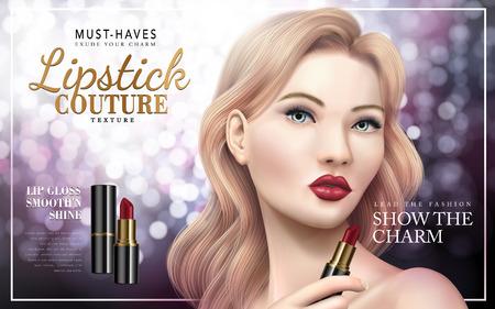 Annuncio di rossetto couture con il volto del modello, sfondo bokeh illustrazione 3d Vettoriali