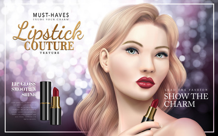 Lipstick couture ad with model face, bokeh background 3d illustration