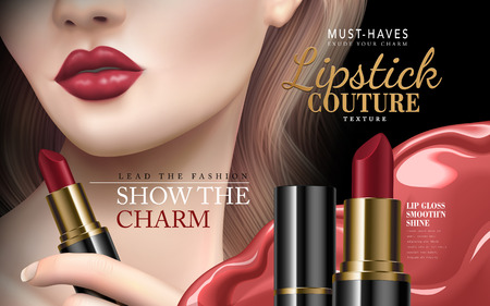 lipstick couture ad with half model face and red liquid flow, 3d illustration Ilustracja