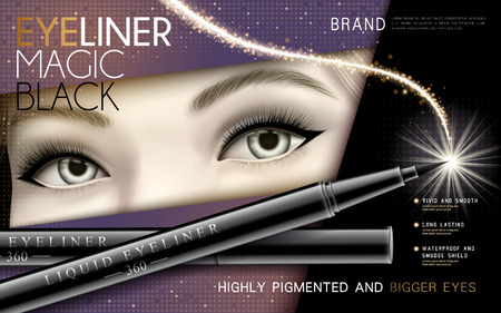 Black eyeliner ad with half model face and magical light, 3d illustration.