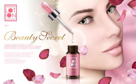 esencia de cuidado de la piel contenida en una botella de gotitas con la cara del modelo y pétalos de rosa, fondo de color rosa ilustración 3d