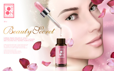 skincare essence contained in a droplet bottle with model face and rose petals, pink background 3d illustration Ilustracja