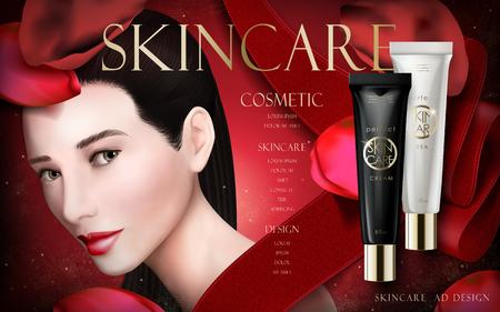 모델 얼굴 및 빨간 리본, 3d 일러스트와 함께 스킨 케어 크림 광고 일러스트