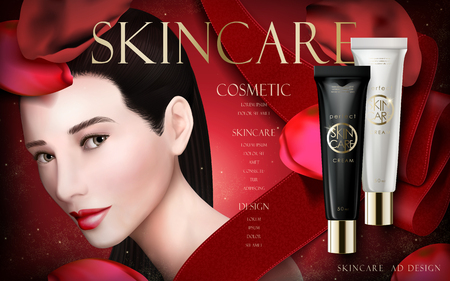skincare cream ad, with model face and red ribbons, 3d illustration Illustration
