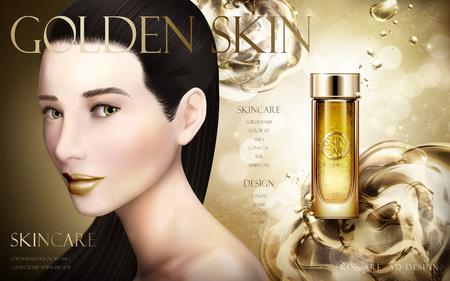 fascinação: ad essência de ouro com a cara de modelo e fundo aquoso, ilustração 3d