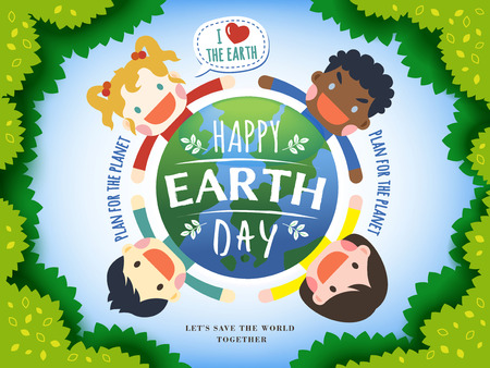 earth day illustration with four kids surrounding an earth, leaves and  light blue background