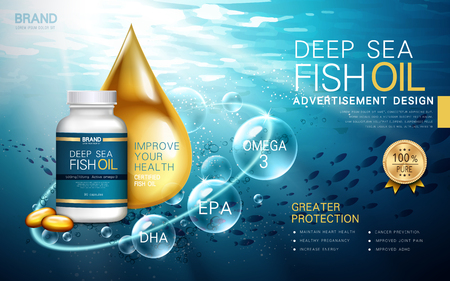 deep sea fish oil contained in a bottle, water background 3d illustration Illustration
