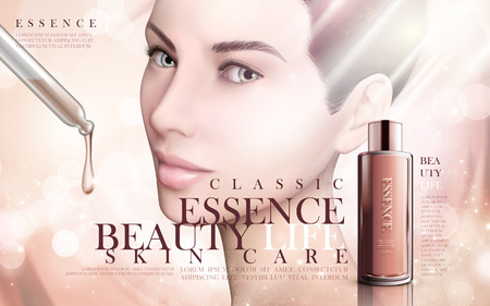 contained: skincare essence contained in a droplet bottle with model face, bright background 3d illustration