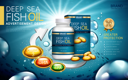 deep sea fish oil contained in a bottle and paper box, water background 3d illustration