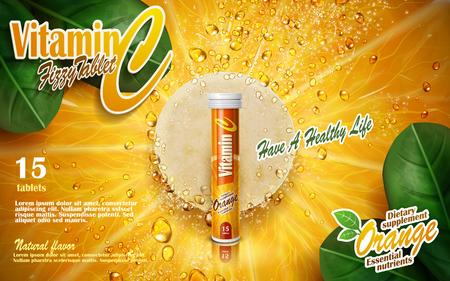 vitamin tablet with orange and leaf elements, 3d illustration