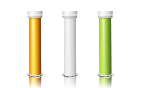 tablet bottles of three colors, isolated white background, 3d illustration