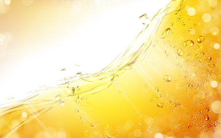 bright color juice background with bubble elements, 3d illustration
